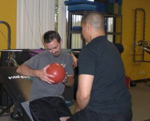 At Rehab throwing a ball